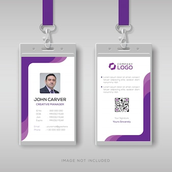 Simple id card template with purple details