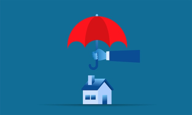 Simple illustration home protection big hand holding red umbrella