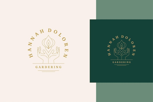 Simple illustration of linear style logo template