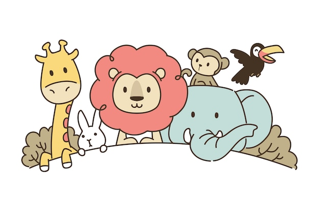 Simple illustration of lion and friends
