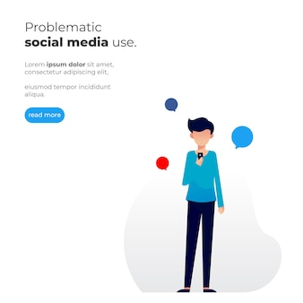 Simple illustration of a man holding a cellphone with problematic social media use theme