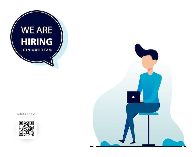 Simple illustration men using laptop we are hiring