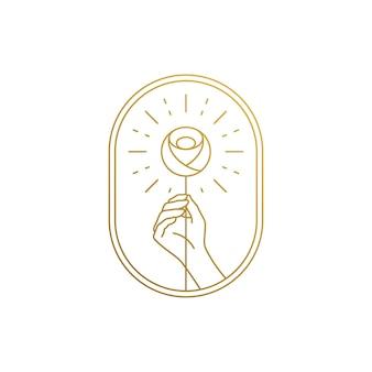 線形スタイルのロゴデザインテンプレートの簡単なイラスト