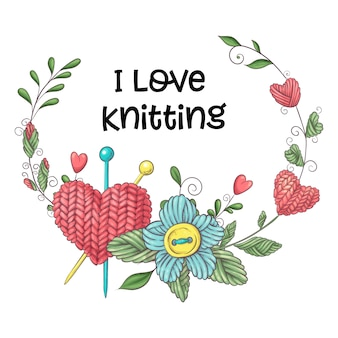 Simple illustration with knitting needle