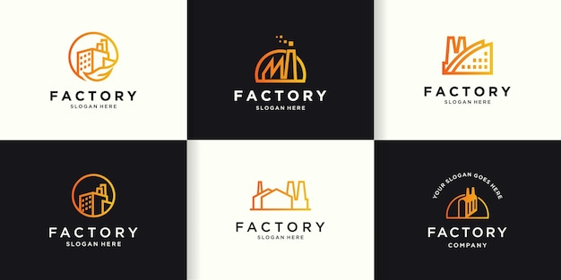 Simple industrial logo with line style
