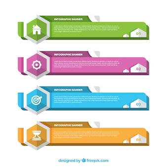 Simple infographic banners collection