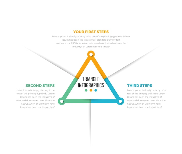 Simple infographics template with 03 steps triangle infographics data