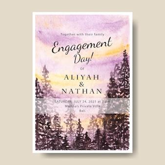 シルエットの木と手描きの水彩画の空の風景とシンプルな招待状