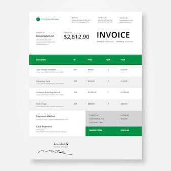 Simple invoice design template