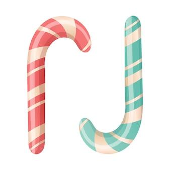 Простые изолированные векторные иллюстрации двух полосатых рождественских леденцов красного и мятного цвета. праздничные мультяшные сладости.
