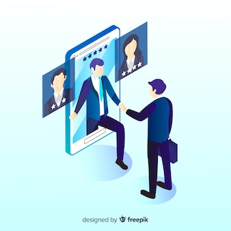Simple isometric hiring illustration
