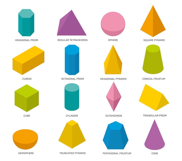Simple isometric shapes multicolor isolated geometric elements math objects for school studying logo Premium Vector