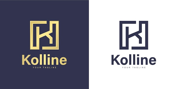 「正方形」のコンセプトを持つシンプルなk文字のロゴ
