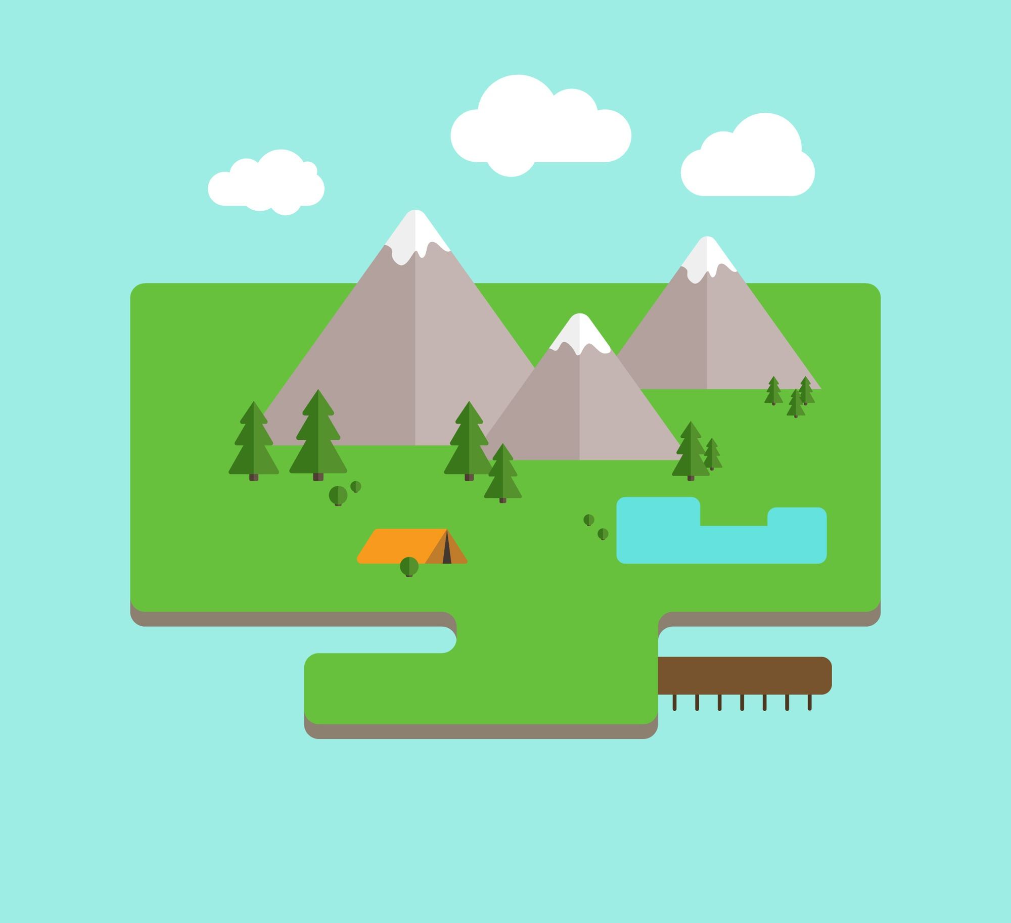 Simple landscape in flat design