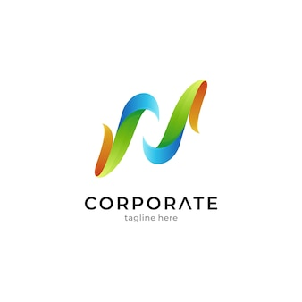 Simple leaf letter n logo template with gradient colors