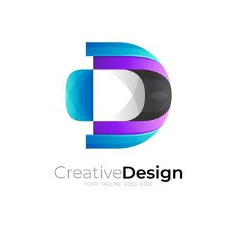 シンプルな文字dのロゴとモダンなデザインのベクトル