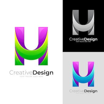 シンプルな文字のhロゴと3dカラフルでモダンなアイコン