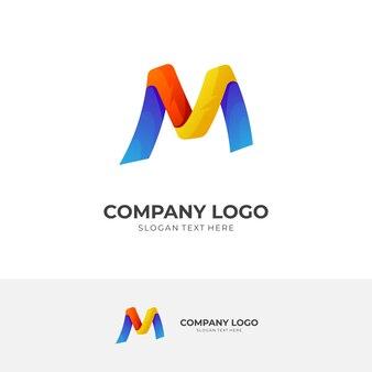 Простая буква m концепция логотипа с 3d красочным стилем
