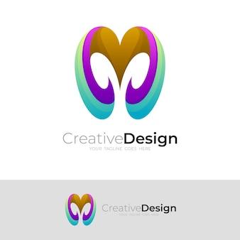 カラフルなデザインテンプレートとシンプルな文字mロゴ
