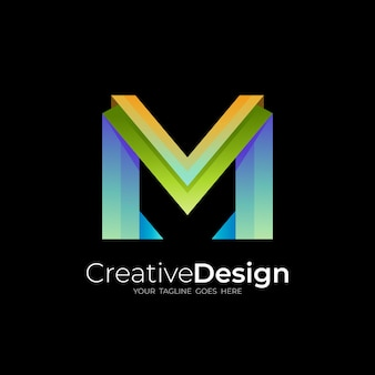 Simple letter m logo with colorful style design