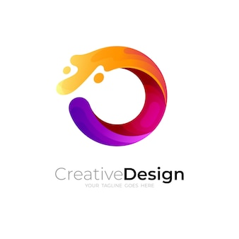 Простая буква o логотип с иллюстрацией дизайна swoosh, красочный