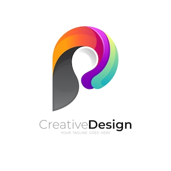 シンプルな文字pロゴ、文字pアイコンテンプレート、3dカラフル
