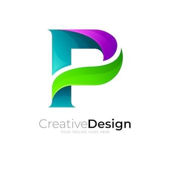 3dカラフルなデザインのシンプルな文字pロゴ
