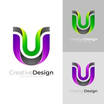 ラインデザイン、カラフルなスタイルのシンプルな文字uロゴ