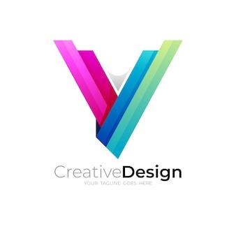 シンプルな文字vのロゴとモダンなテンプレート