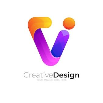 기술 디자인이 화려한 단순한 문자 v 로고