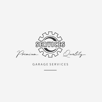 Simple line art gear automotive logo, design of mechanical engineering of auto services, illustration garage automotive vector