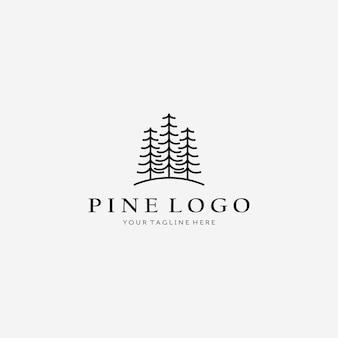 Простая линия искусства сосны логотип векторные иллюстрации дизайн линейный, минималистский дерево, минималистичный логотип дерева просто