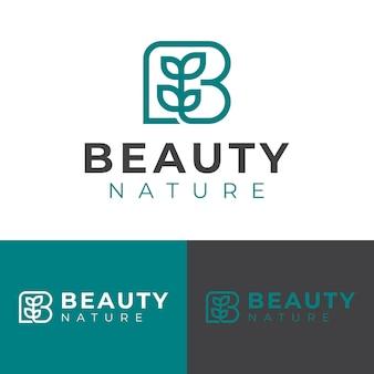 自然の健康美容製品のロゴデザインのための文字bのシンプルなラインアート植物または葉