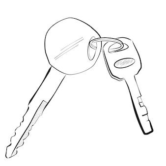 オートバイと南京錠の鍵の簡単な線画スケッチ