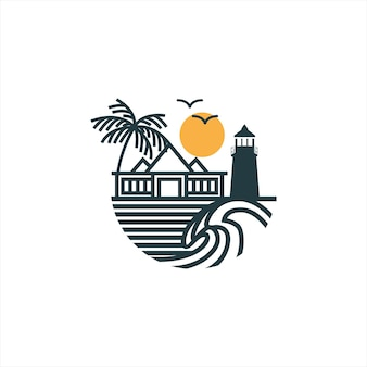 Simple line art wave logo