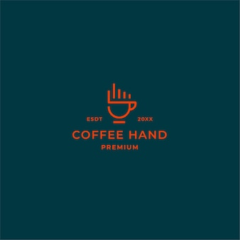Simple line coffee logo with hand fingers and coffee cup