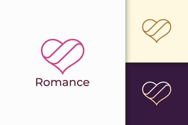 단순한 라인 러브 로고는 로맨스 또는 관계를 나타냅니다.