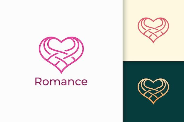 Simple line love logo represent romance or relation