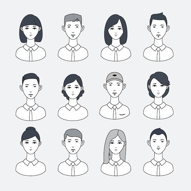 Simple line minimalistic vector set of avatars.