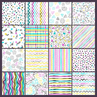 Simple line pattern. childish style colored shapes different forms dots and doodling strips fashioned seamless backgrounds
