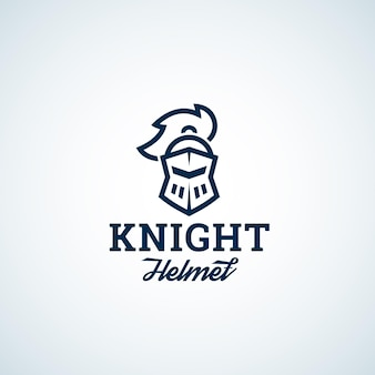 Simple line style knight helmet abstract vector icon