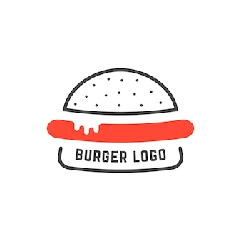 シンプルな線形ハンバーガーのロゴ。料理バッジ、不健康なジャンクフード、スライス、ソーセージ、栄養提供の概念。フラットスタイルのトレンドモダンなブランドのグラフィックデザインの白い背景のベクトル図