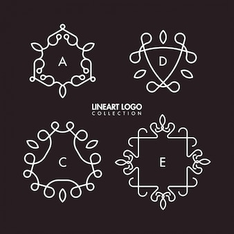 Simple lineart logo template collection