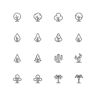Simple lineart trees icons,  landscape line symbols, isolated plant signs