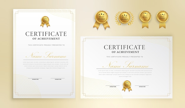 Simple lines certificate with badge and border vector a4 template