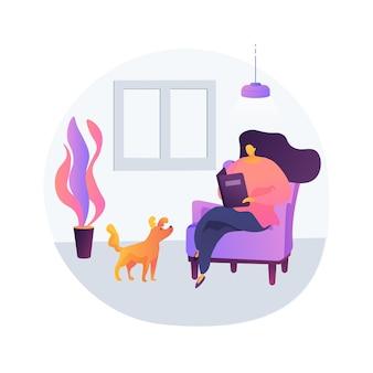 Illustrazione di vettore di concetto astratto vivente semplice. vita minimalista, pratica di stile di vita volontario, consumi ridotti, sostenibilità, vita semplice e pacifica, metafora astratta dell'autosufficienza.
