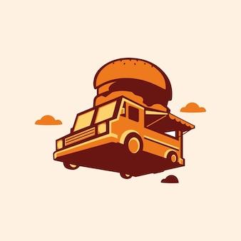 햄버거 푸드 트럭 디자인 컨셉의 간단한 로고와 아이콘