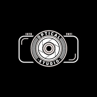 Simple logo camera lens with camera for photo studio
