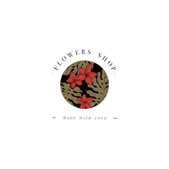 Простой логотип. гравированный логотип. ботанический салон красоты и символ органической косметики с цветами plumeria. тропические пальмовые листья.