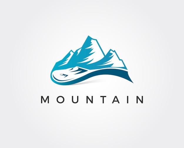 モダンなスタイルのシンプルなロゴ山の頂上に文字mの形で